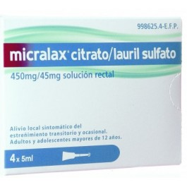 MICRALAX 45 MG450 MG EMULSION RECTAL 4 MICROENEMAS 5 ML