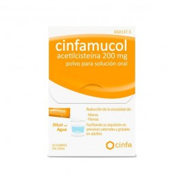 CINFAMUCOL ACETILCISTEINA 200 MG 20 SOBRES POLVO SOLUCION ORAL